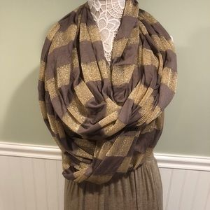 Gold and Camel Colored Infinity Scarf Wrap